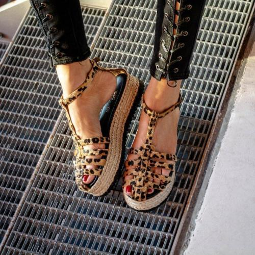 Leopard Print Interlace Ankle Strap T-Bar Hollow Straw-Weaved Platforms Sandals