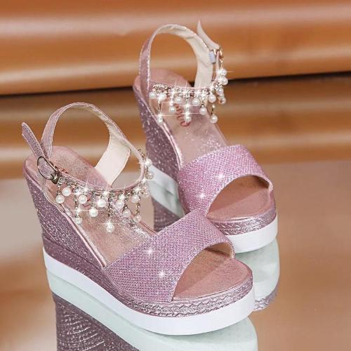 Shiny Rhinestone Beading Buckle Girly Sky-High Wedges Sandals