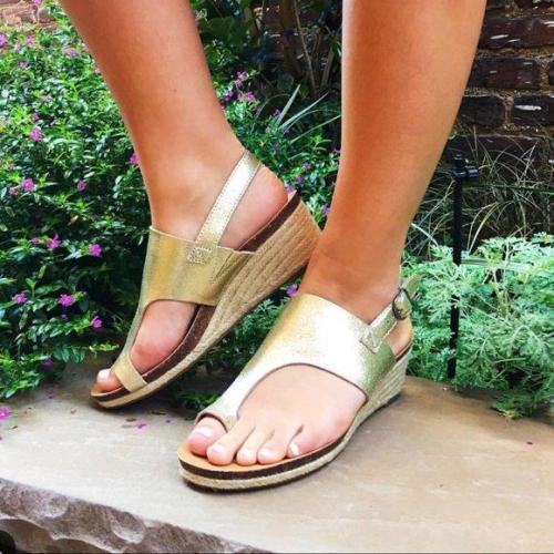 Toe Ring Espadrille Wedge Sandals