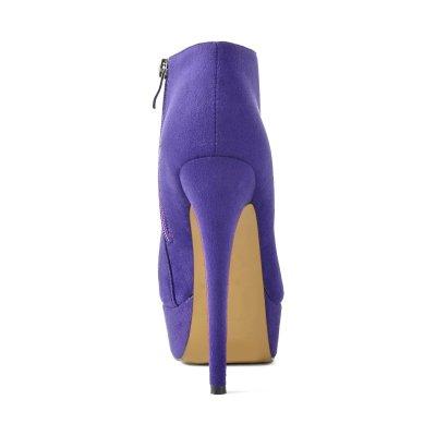 Platform Round Toe Suede Stiletto High Heels Zip Ankle Boots