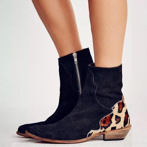 Leopard Women Low Heel Zipper All Season Boots