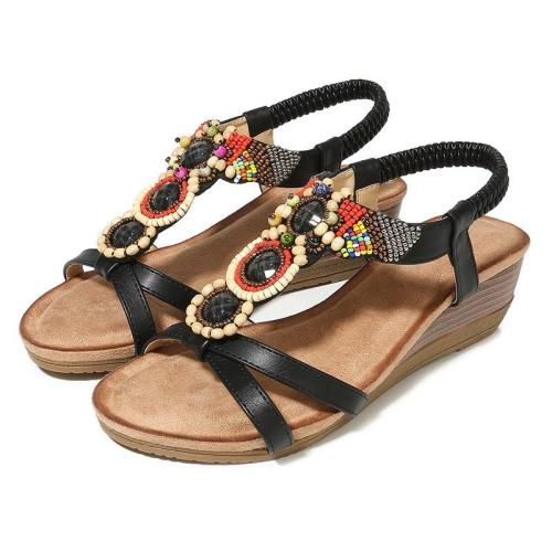 Spring New Sandals Retro Slope Heel Flower Round Head Women's Shoes Sandals