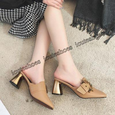 Slippers Women's Fashion Rhinestone Thick Heel Muller Shoes Fashion Sandal