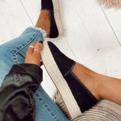 Straw-Weaved Platforms Flat Loafers
