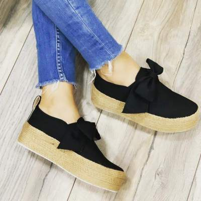 Bowknot Straw-Weaved Platform Vintage Casual Loafers