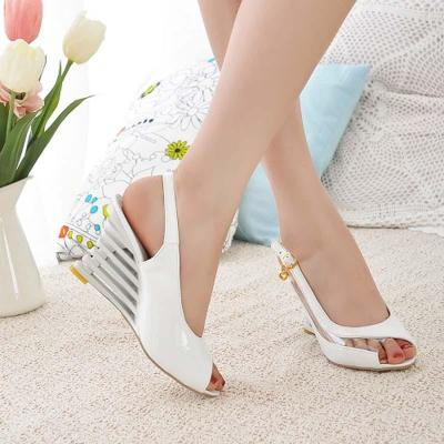 Wedge Heel Sandals Buckle Style Open Toe Shoes transparent Women Summer Shoes Patent PU