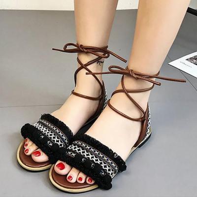 Bohemian Casual Lacing Flat Beach Sandals