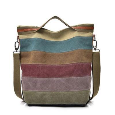 Canvas Contrast Color Striped Handbag Crossbody Bag
