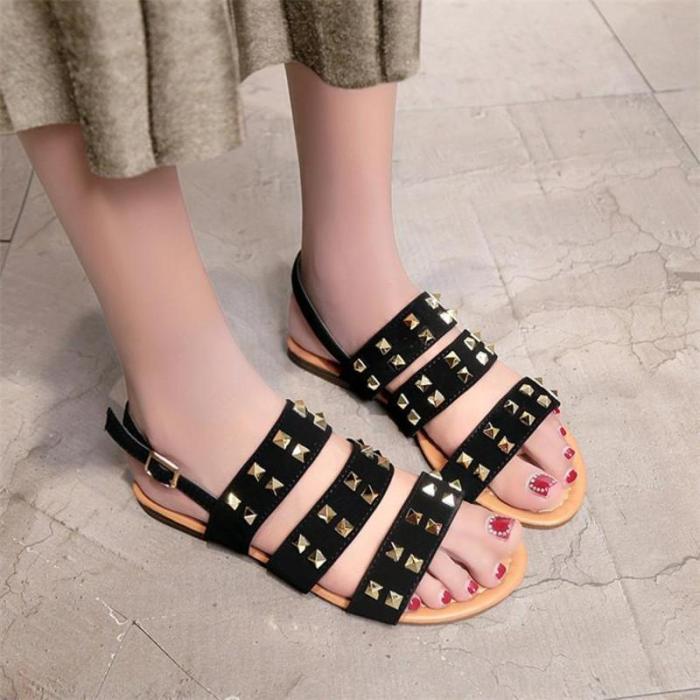 Vintage Women Sandals Breathable Rivets Open Toe Buckle Strap Flat Sandals Rome Slippers