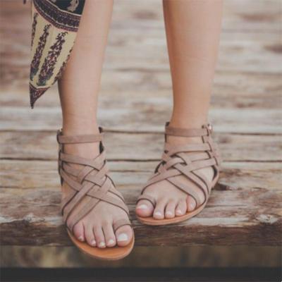 Large Size Women Casual Crisscross Buckle Strap Flat Heel Sandals