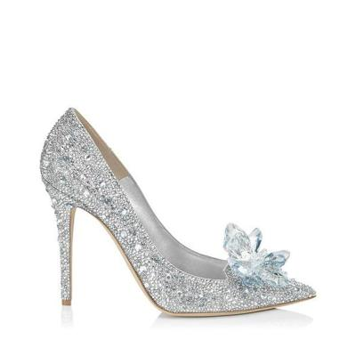 Women's Solid Color Rhinestone Pointed High Heels