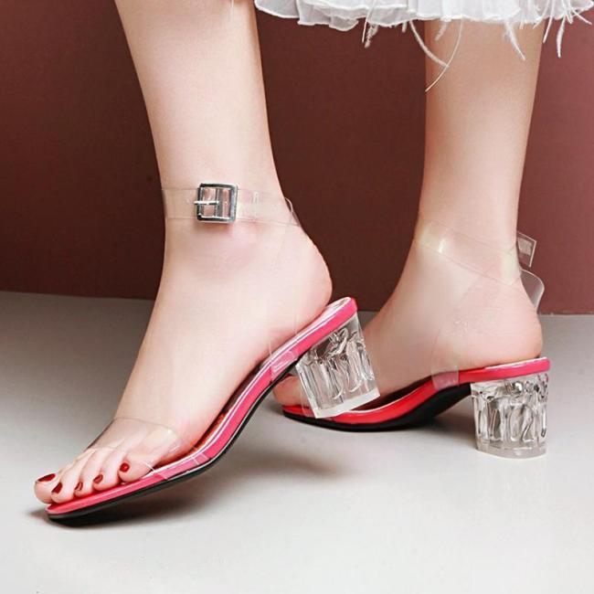 Summer PVC Chunky Heel Floral Print Sandals