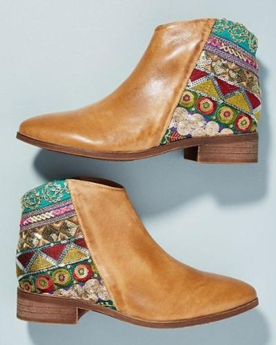 Ethnic Print Casual Wedge Bootie