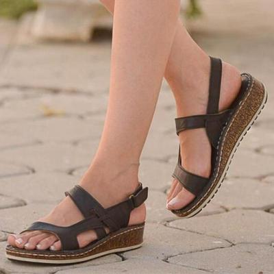 Low Wedges Heels Strap Hook&Loop Sandals