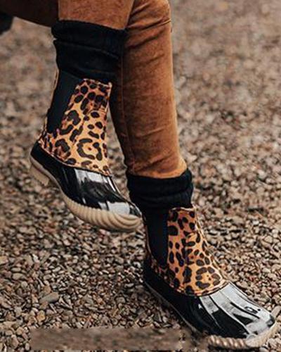 Leopard Contrast Statement Ankle Bootie