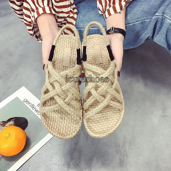 Summer New Women's Shoes Round Head Linen Cross Tie Student Flat Bottom Comfortable Sandals Women