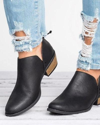Women's round head high heel ankle boots