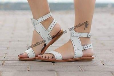 Flat Gladiator Leather Sandals Summer Shoes Woman Rome Style Double Buckle Casual Beach Sandles