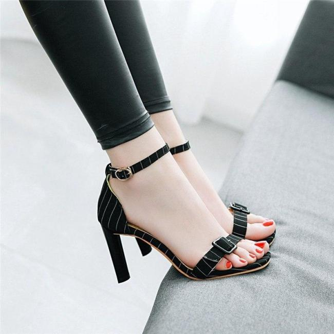 Women Sandals Buckle Square High Heels Sexy Elegant Party Wedding Shoes