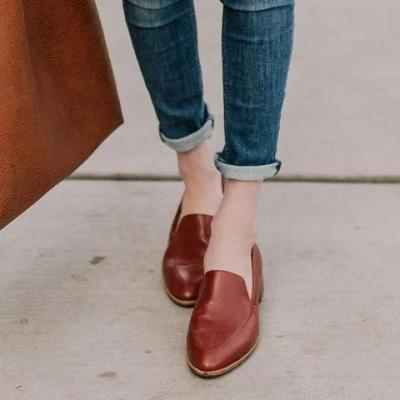 Womens Brown Casual All Season PU Loafers