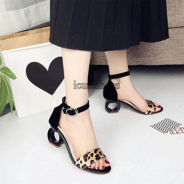 Summer New Sandals Women Suede with Special-shaped with A Word Buckle Fashion Fish Mouth Sandals