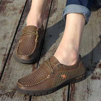Mens Lace Up Breathable Business Casual Flats