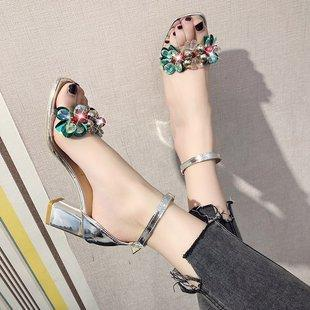 Summer New Transparent Chunky Heel High Heels Rhinestone Flower Toe Buckle Sandals