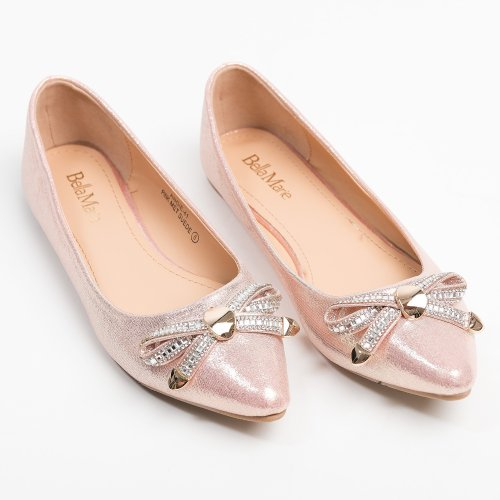Bow Point-Toe Pink Flats