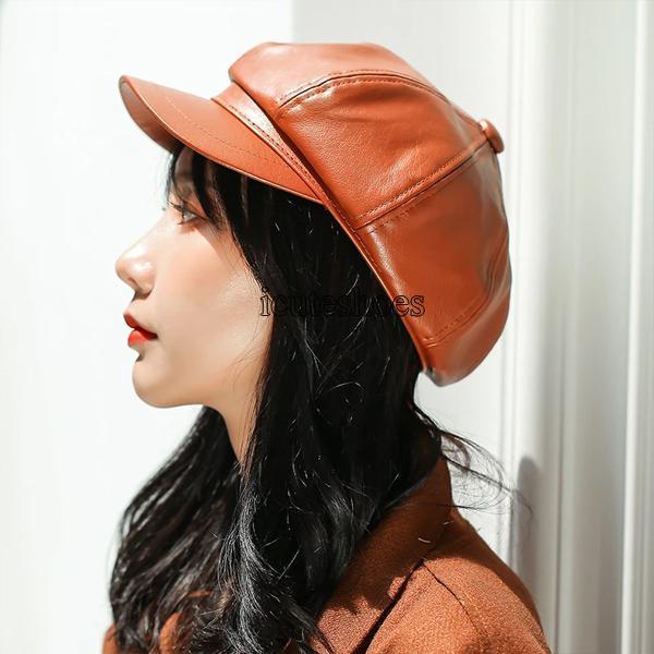 PU Leather Hat Women British Korean Japanese Spring Retro All-around Leather Hat