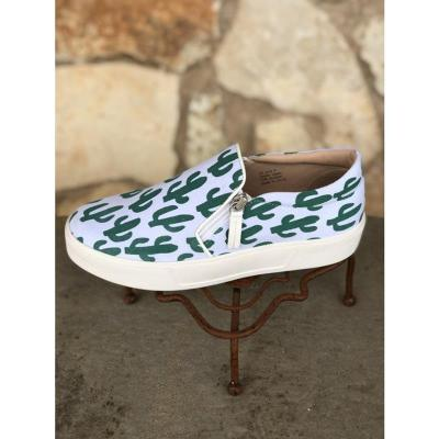 Green Cactus Print Canvas Zipped Loafers
