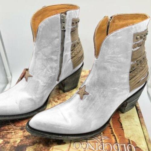 Artificial Leather Panel Block Heel Boots