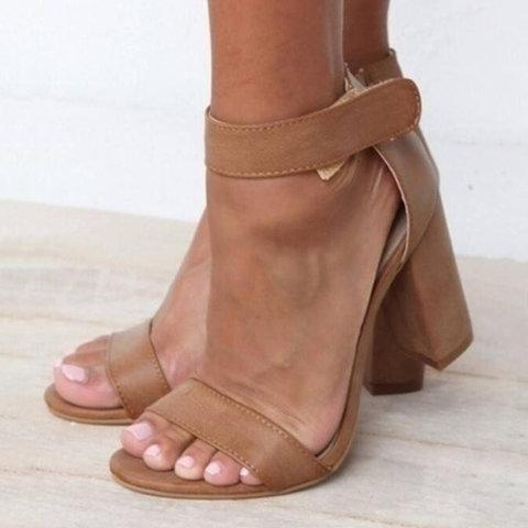 Magic Tape Ankle Strap Sandals Chunky Heel Casual Shoes