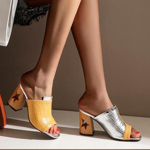 Large Size Cool Women's Pattern Slippers Women's Hollow Heel Chunky Heel