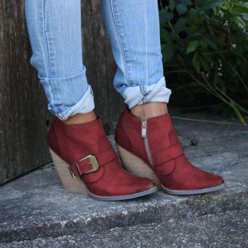 Plus Size Vintage Leather Zipper High-Wedges Heel Ankle Booties