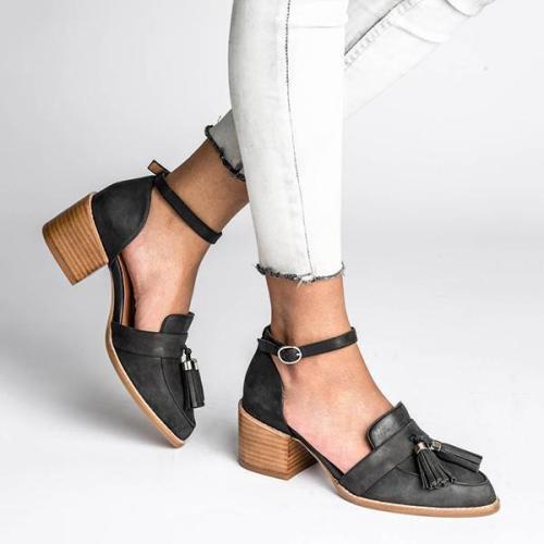 Vintage Daily Middle Heel Tassel Sandals