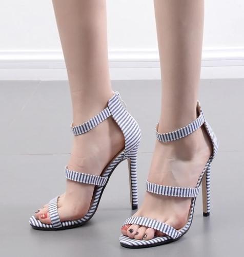 The Cowboy Cloth Heels Zebra Stripes Roman Fashion Peep-Toe Shoes