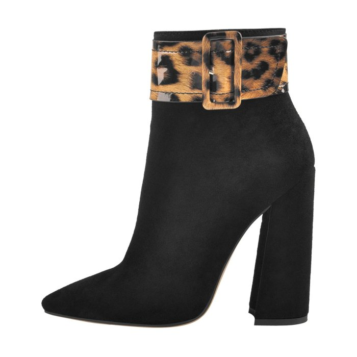 Black Suede Leopard Ankle Buckle High Chunky Block Heels Booties