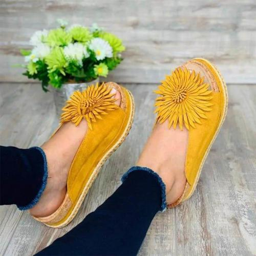 Women Casual Flower Trim Slip On Sandals
