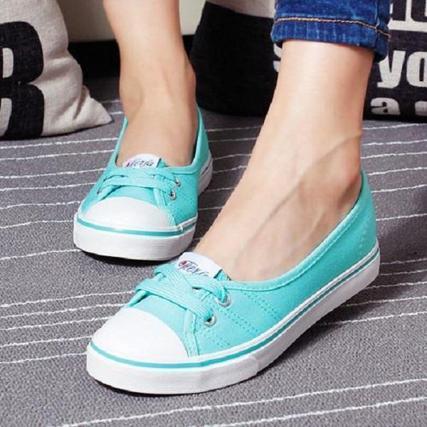 Women Summer Lace Up Flats Round Toe Stylish Slip On Canvas Shoes