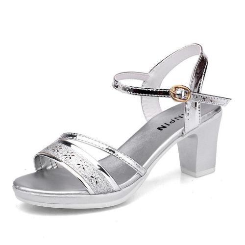 Chunky Heel Open Toe Elegant Date Sandals