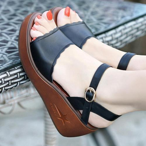 Wedge Heel Open Toe Genuine Leather Sandals