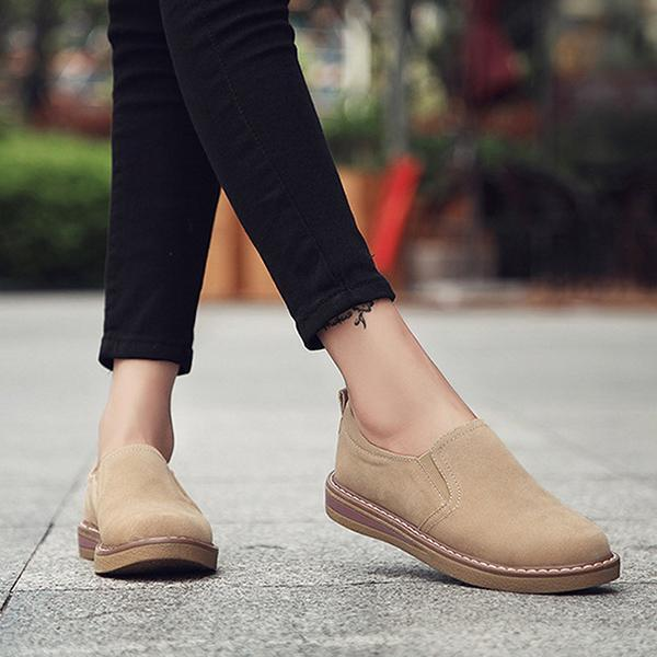 Women Faux Suede Loafers Elastic Band Pure Color Casual Flat Slip-on Shoes