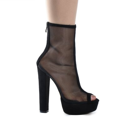 Mesh Peep Toe Platform Chunky High Heel Sandals Boots