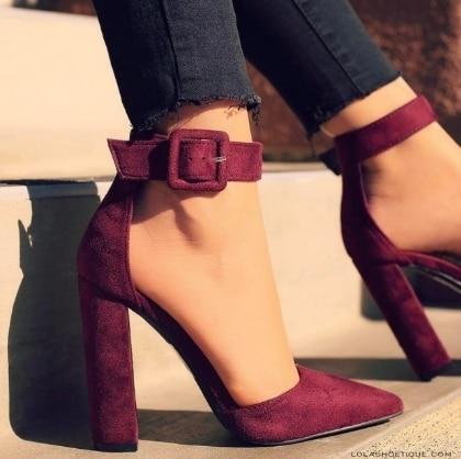 High Heels Female Zapatos Mujer Pointed Toe Pumps Party Ankle Strap