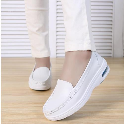 Woman Platform Soft Comfortable Air Cushion Casual Genuine Leather Flats