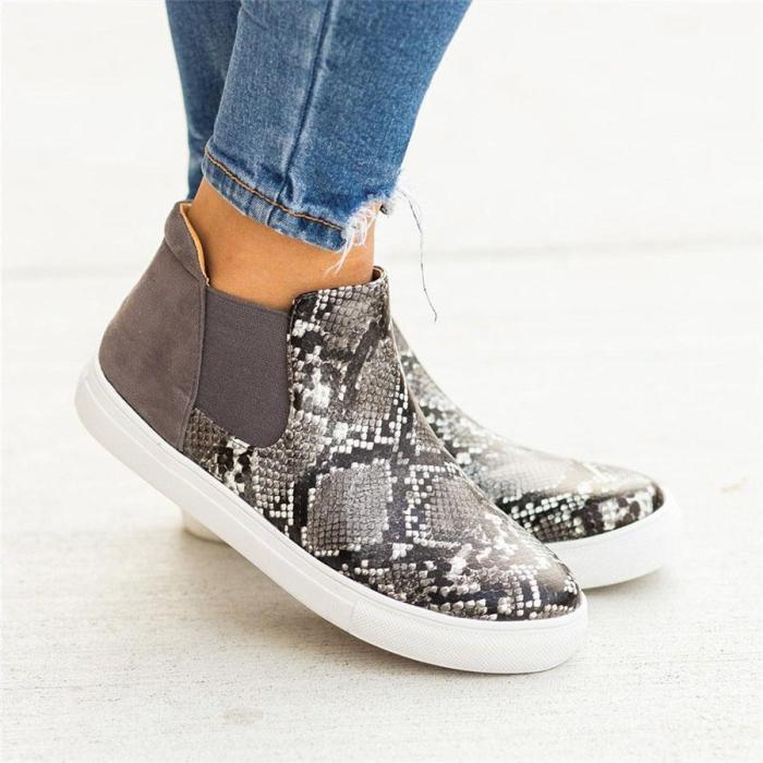 Round Toe Printed Casual With Elastic Women Ankle Booties Flats