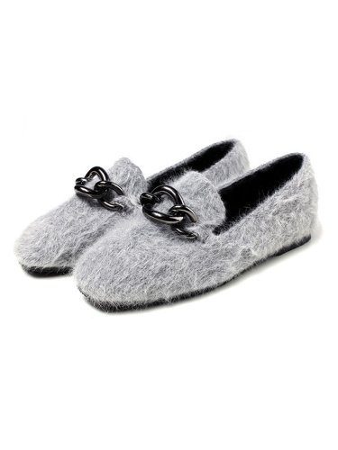 Point Toe Metal Buckle Velour Upper Flat