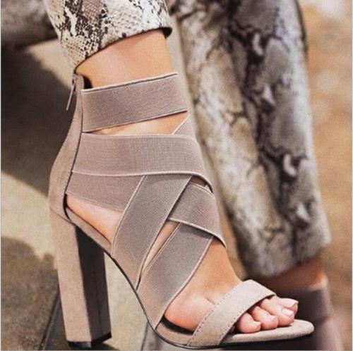 Women Elastic Band Shoe High Heel Roman Sandals