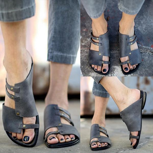 Summer Soft Comfortable Flat Sandals Slippers For Women