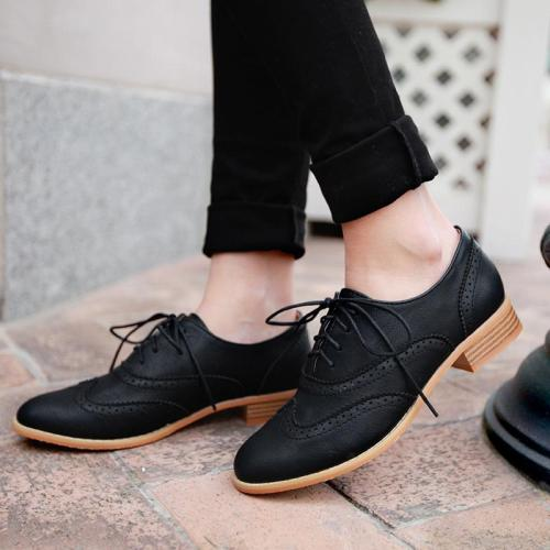 Laser Cut Low Heels Lace-Up Shoes